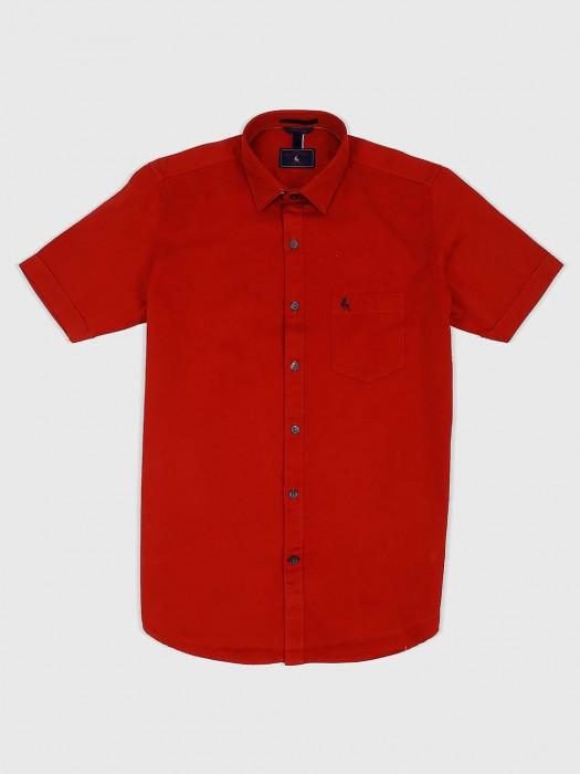 EQIQ Solid Red Hued Cotton Shirt