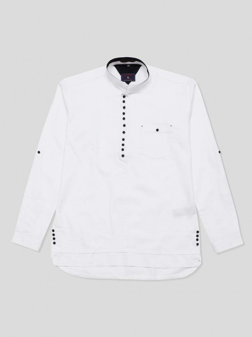 Eqiq White Solid Full Sleeve Cotton Shirt