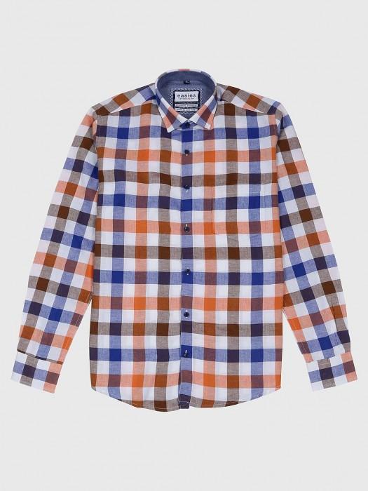 Esies Orange And Blue Checks Shirt
