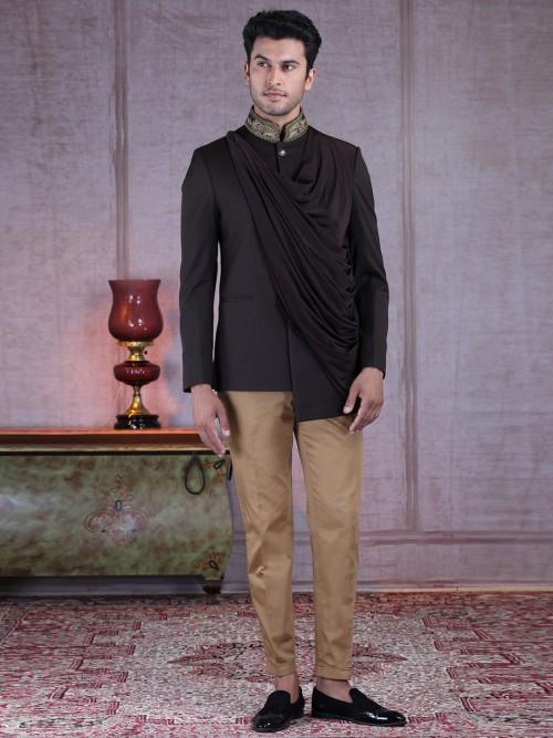Exclusive Brown Terry Rayon Jodhpuri Suit