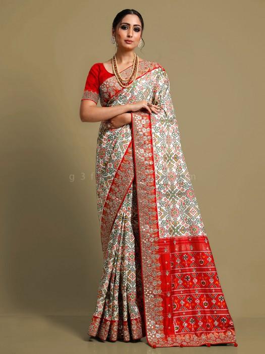 Exclusive Cream Patola Silk Wedding Saree