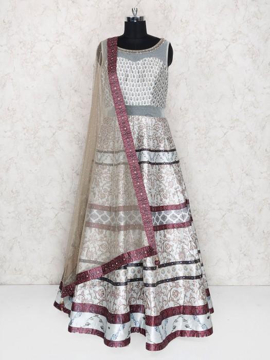 Exclusive Cream Silk Fabric Anarkali Suit
