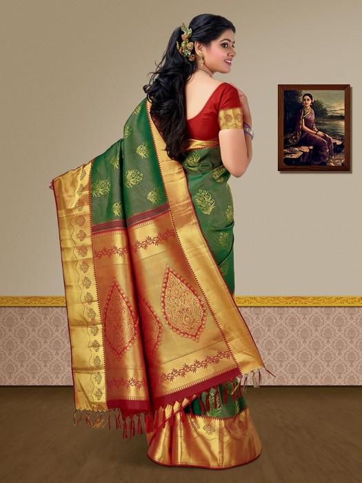 Exclusive Green Color Pure Silk Zari Kanjivaram Saree