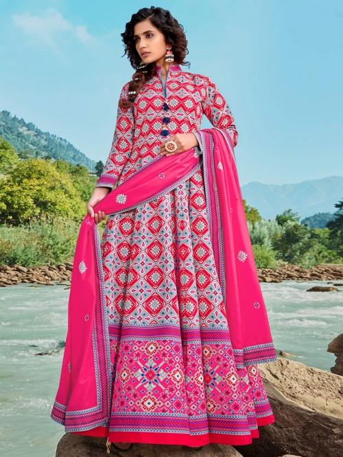 Exclusive Grey Party Wear Patols Silk Floor Length Anarkali Salwar Suit