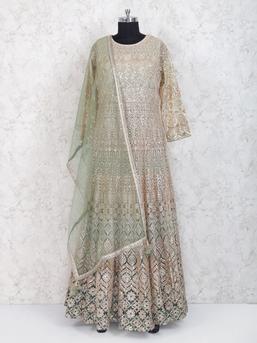 Exclusive Mint Green Floor Length Anarkali Suit