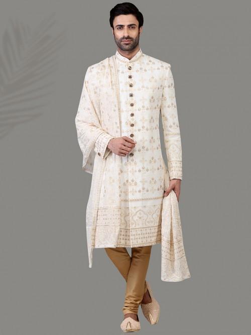 Exclusive White Silk Sherwani