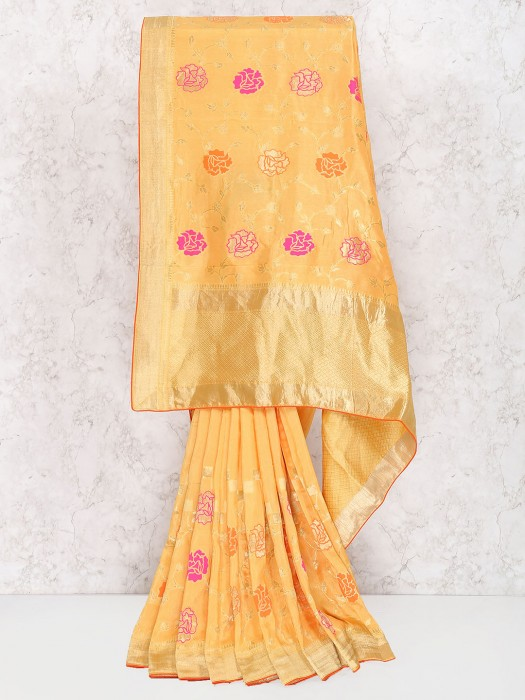 Exclusive Peach Muga Silk Festive Saree