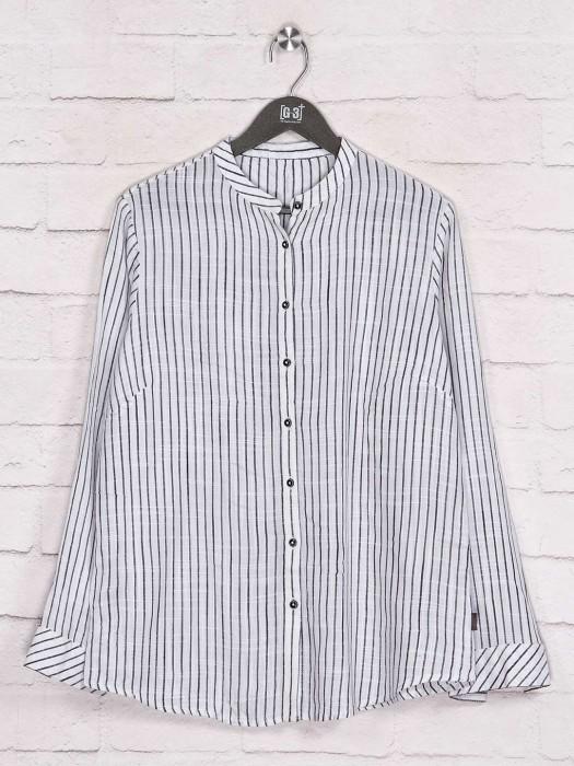 Fancy Stripe Off White Cotton Shirt