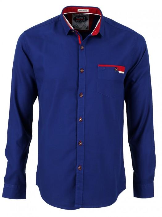 Fashion Police Blue Plain Men Cotton Slim Fit Shirt
