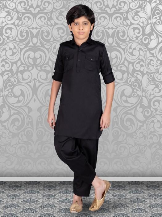 Festive Black Solid Cotton Pathani Suit