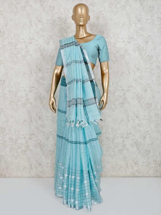 Festive Function Checks Light Blue Linen Saree