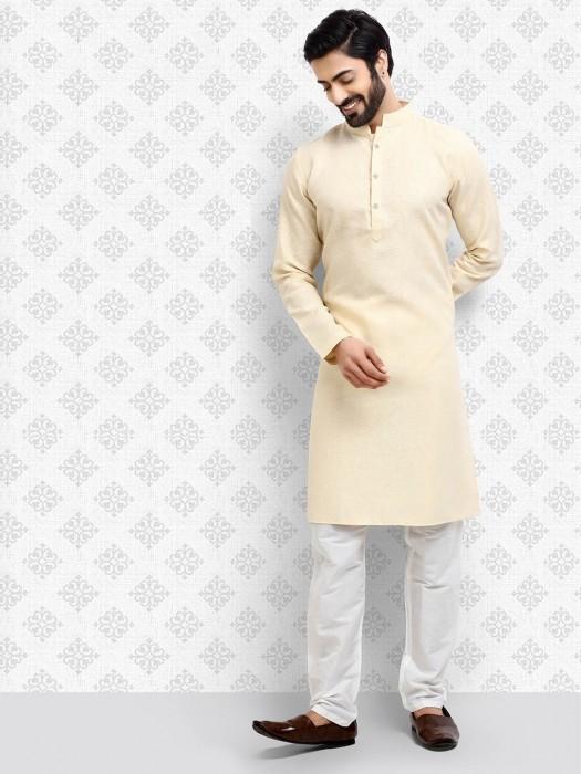 Festive Function Sober Cream Hue Kurta Suit