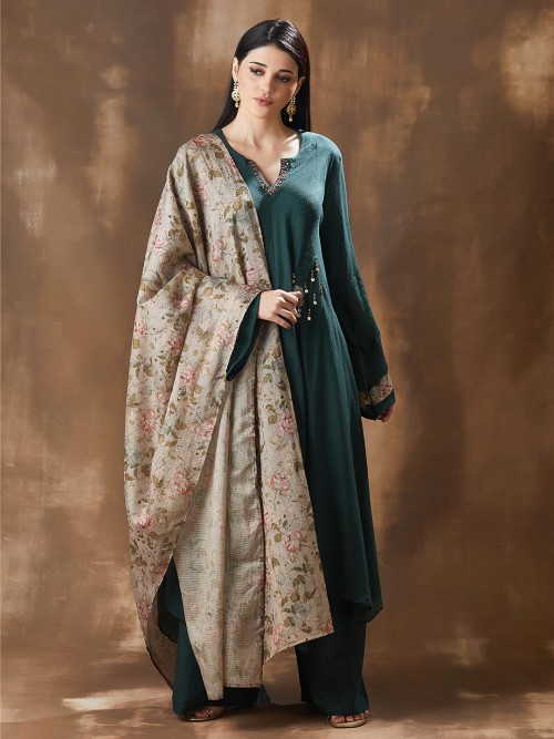 Festive Green Georgette Palazzo Salwar Suits