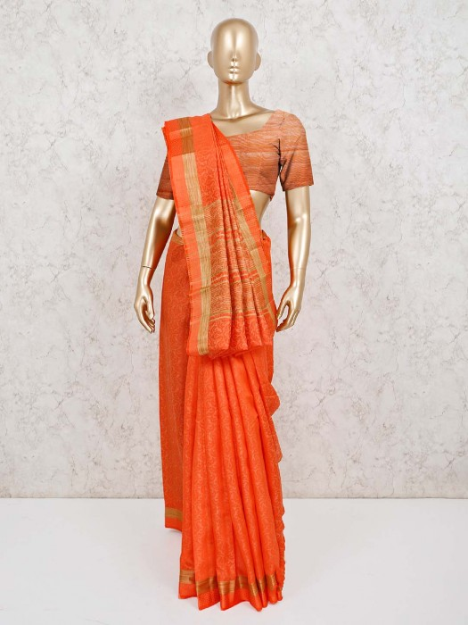Festive Orange Jacquard Design Cotton Silk Saree