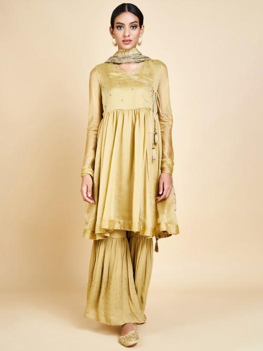 Festive Wear Angrakha Style Sharara Suit
