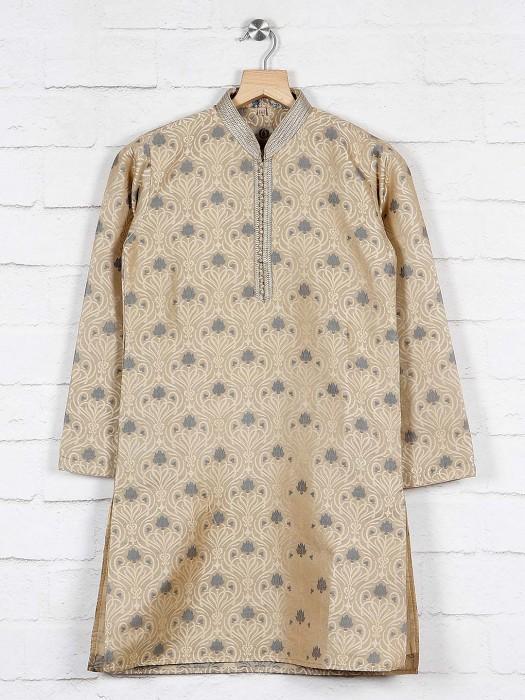 Festive Wear Beige Cotton Kurta Suit