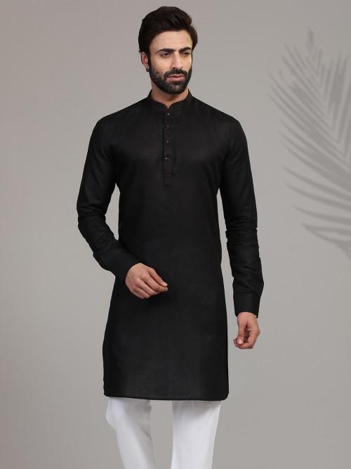 Festive Wear Black Hue Stand Collar Mens Kurta