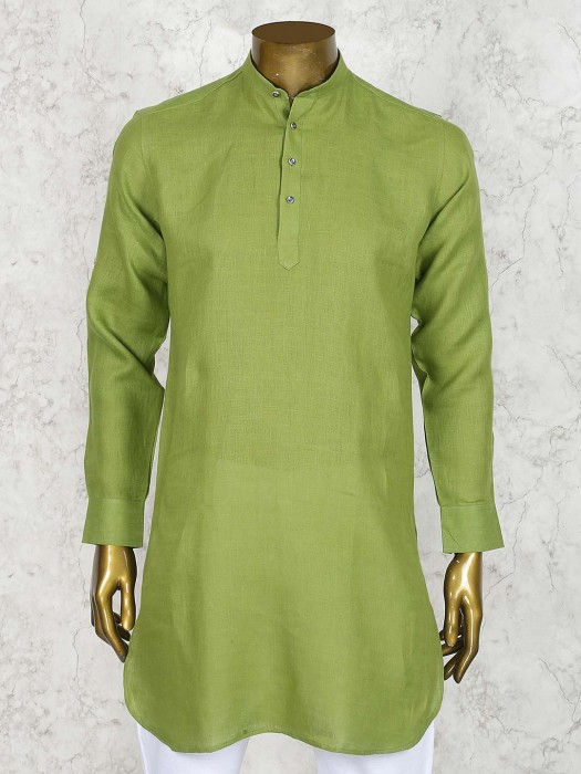 Festive Wear Green Color Solid Short Pathani