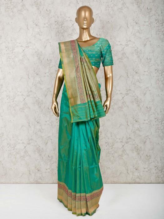 Festive Wear Green Pure Silk Saree