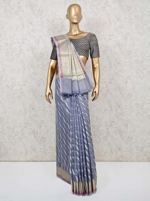 Festive Wear Grey Cotton Banarasi Silk Saree