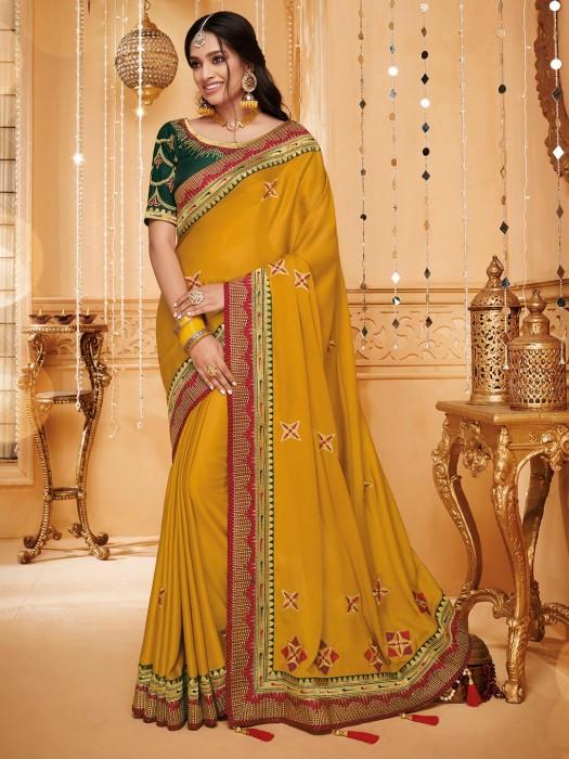 Festive Wear Mustard Yellow Saree In Satin