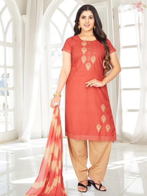 Festive Wear Rust Orange Punjabi Salwar Suit