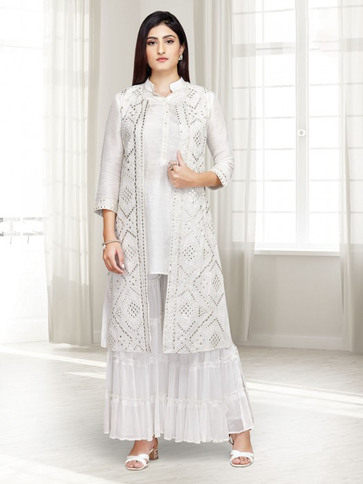 Festive Wear White Punjabi Sharara Suit