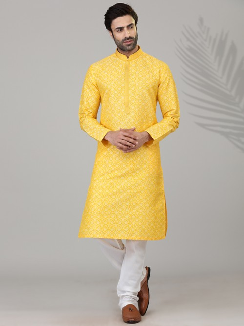 Festive Wear Yellow Printed Mens Kurta Suit