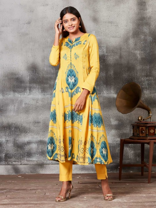 Festive Wear Yellow Printed Punjabi Salwar Suit In Raw Silk