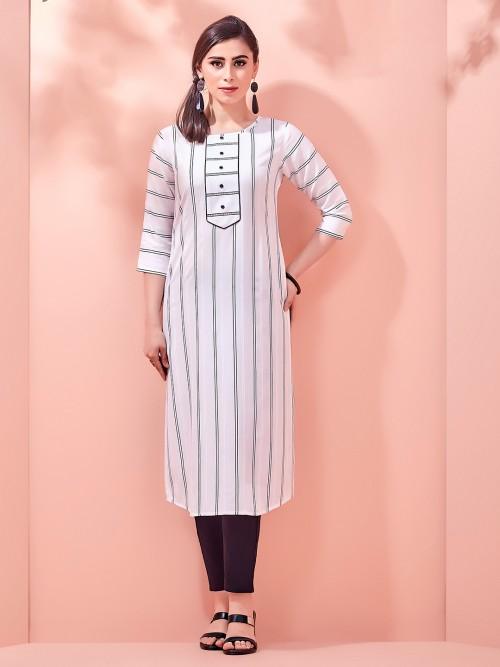 Festive White Cotton Kurti With Stripes
