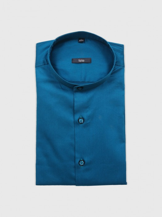 Fete Blue Cotton Slim Fit Shirt