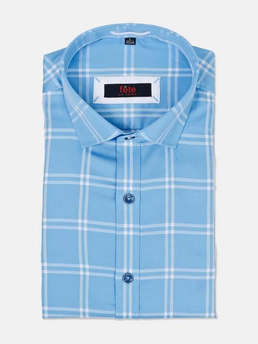 Fete Checks Aqua Colour Slim Fit Shirt
