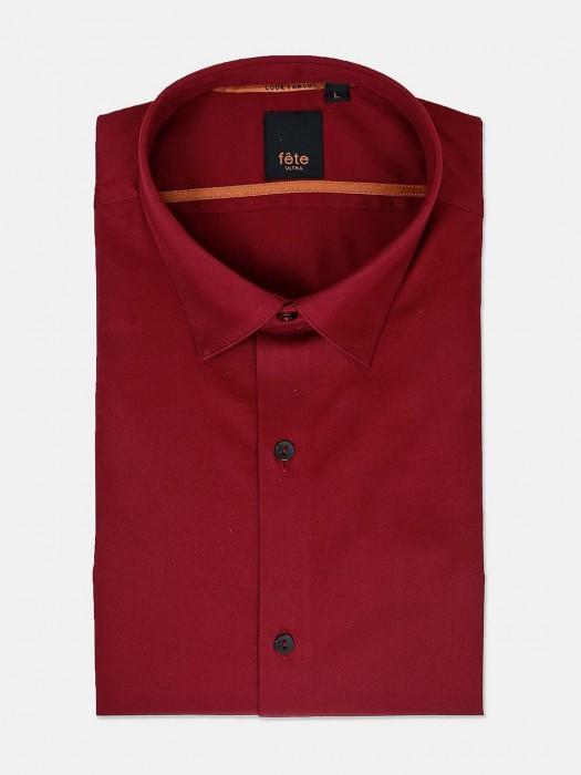 Fete Maroon Solid Formal Wear Shirt