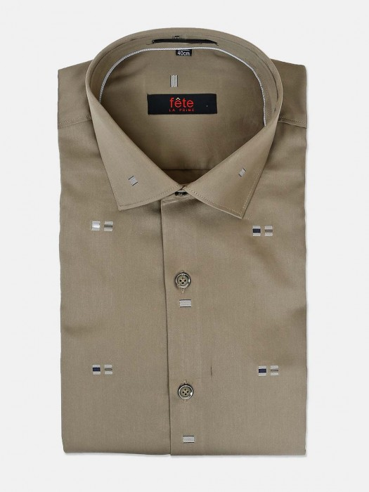 Fete Zitter Design Olive Cotton Shirt