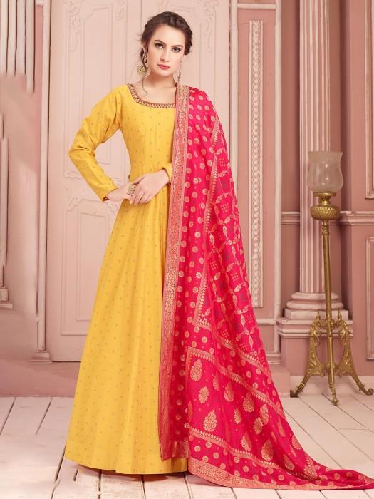 Floor Length Anarkali Suit In Yellow For Wedding