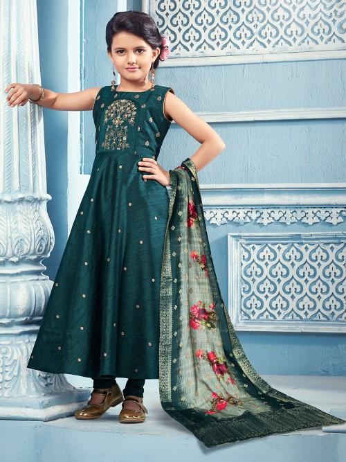 Floor Length Green Cotton Silk Girls Anarkali Suit