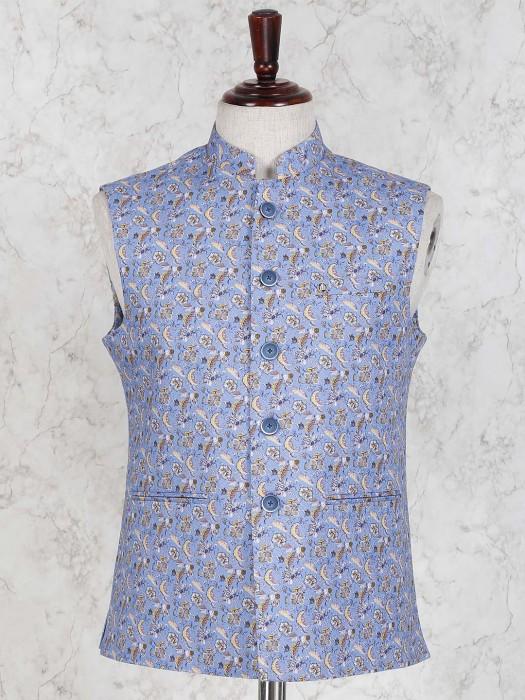 Flower Printed Blue Color Waistcoat