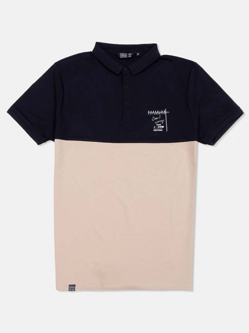 Freeze Beige And Navy Solid T-shirt