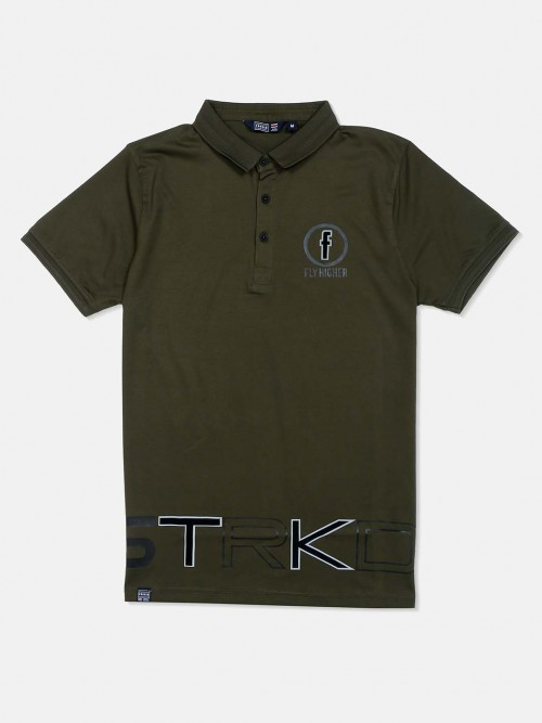 Freeze Olive Solid Cotton Casual T-shirt