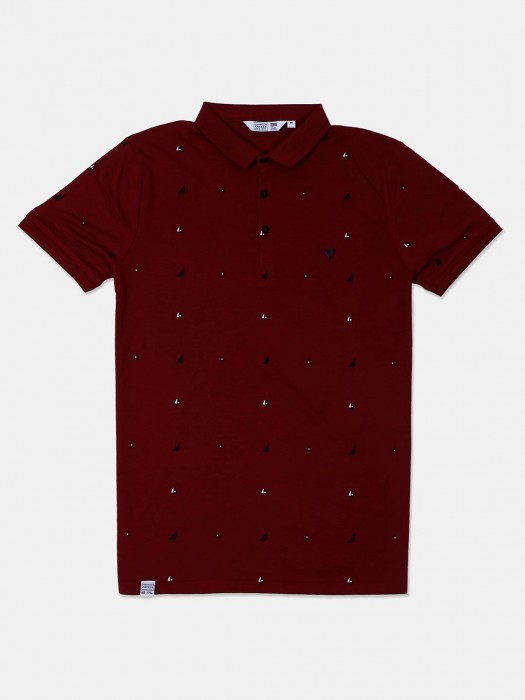 Freeze Presented Maroon Printed T-shirt