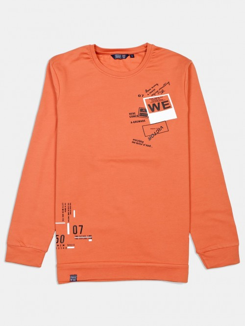 Freeze Printed Orange Cotton T-shirt