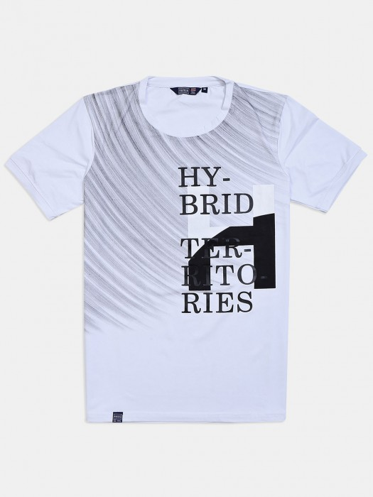 Freeze Printed White Half Sleeves T-shirt