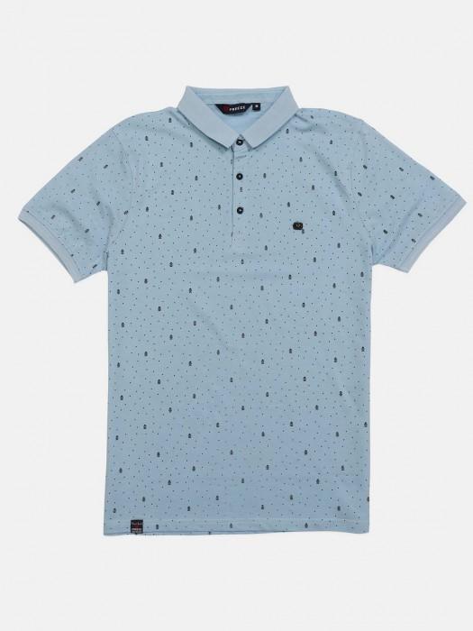 Freeze Sky Blue Printed Mens T-shirt