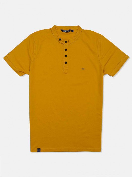 Freeze Yellow Solid Henley T-shirt