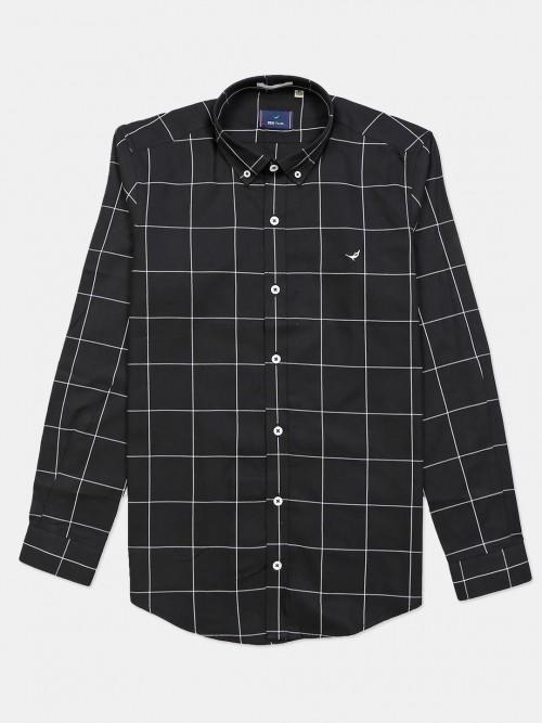 Frio Black Cotton Checks Shirt