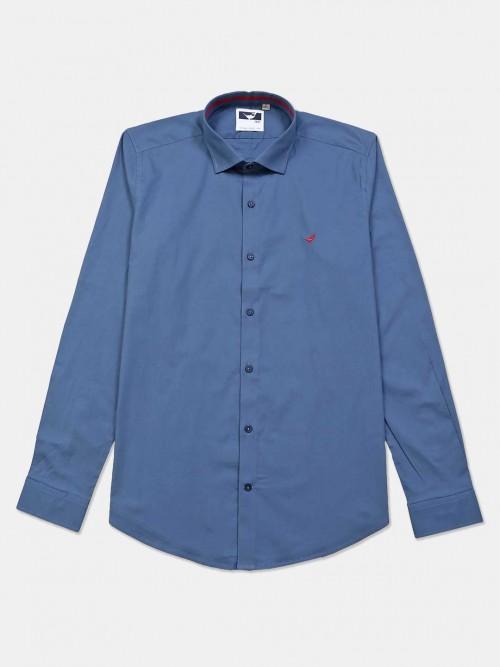 Frio Blue Cotton Full Sleeve Shirt For Mens