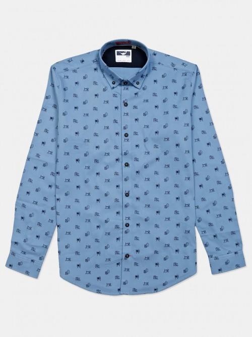 Frio Blue Printed Shirt For Mens