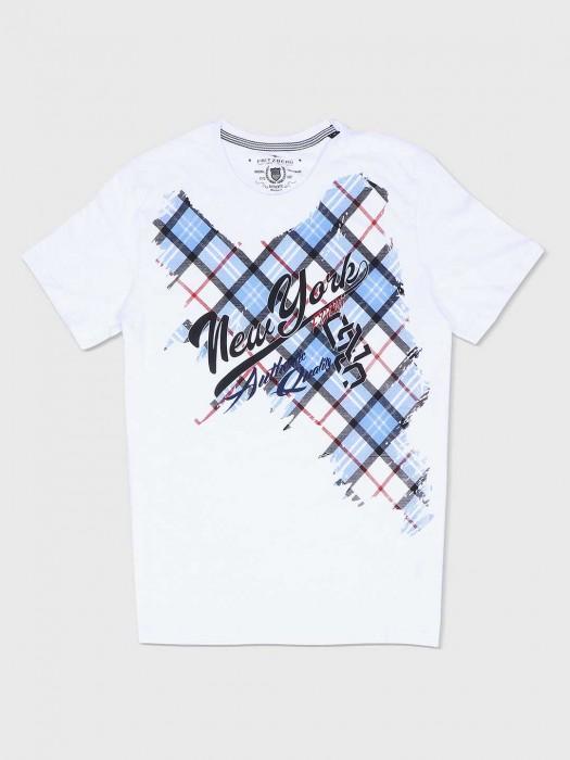 Fritzberg Printed White Cotton T-shirt