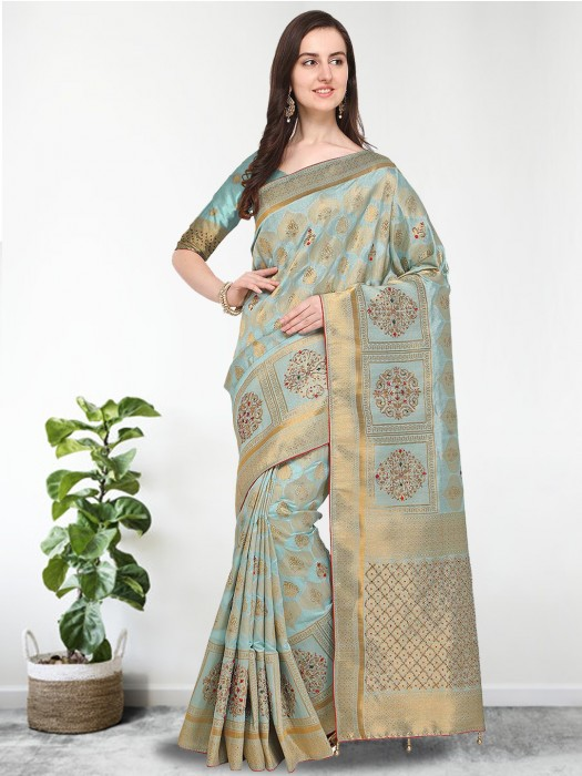 G3 Exclusive Aqua Hue Banarasi Silk Saree