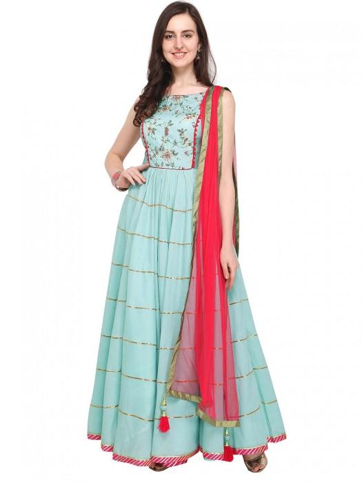 G3 Exclusive Aqua Hue Printed Cotton Floor Length Anarkali Suit